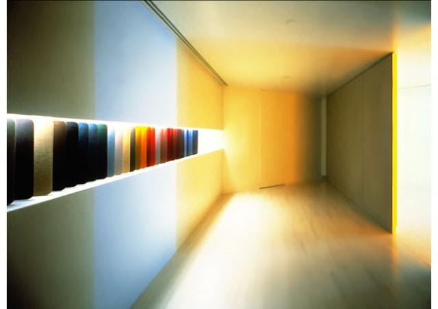 Hauserman Space, Dan Flavin work, design by Massimo Vignelli