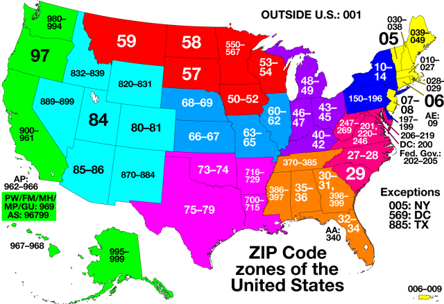 Zip Codes districts in the US